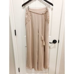 Sage the Label Wide Leg Pants Beige Small